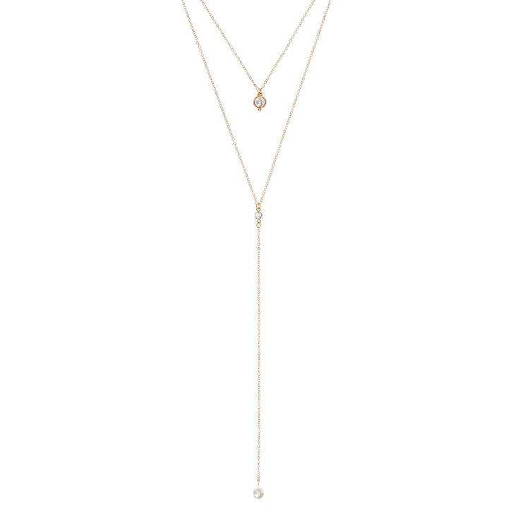 Gold-Tone Double Layer Necklace with Pearl Accents,