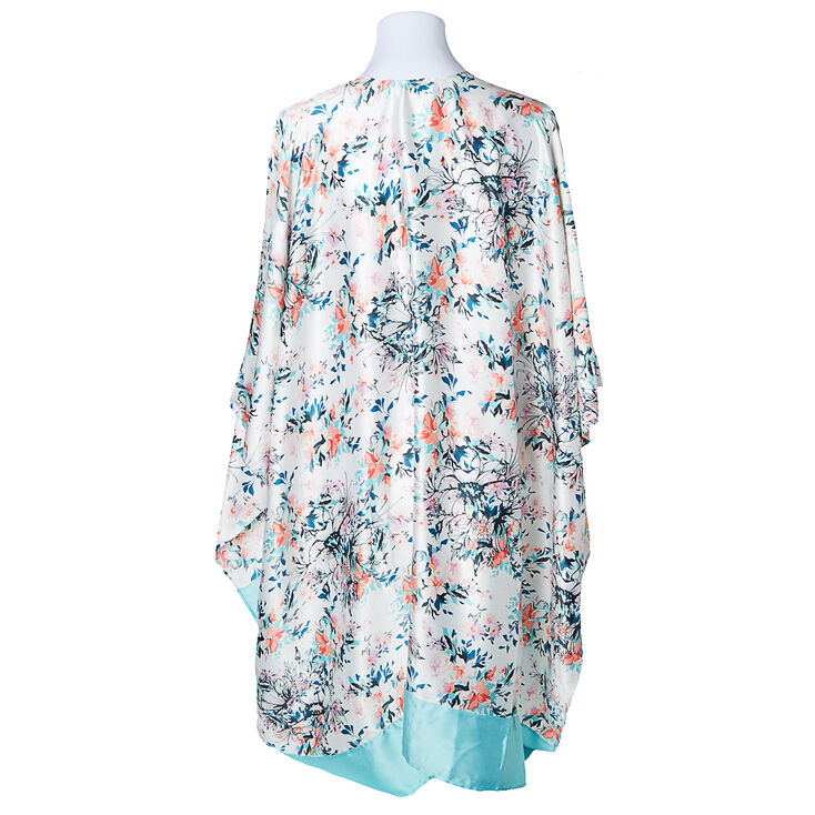 Watercolor Floral Robe - Turquoise,