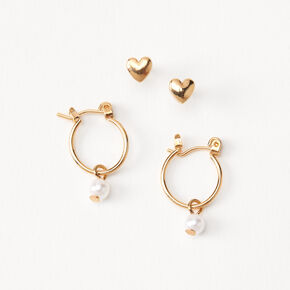 18kt Gold Plated Heart Pearl Stud & Hoop Earrings - 2 Pack,
