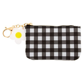 Gingham Daisy Coin Purse - Black,