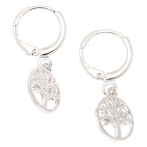 Silver 10MM Tree of Life Huggie Hoop Earrings,