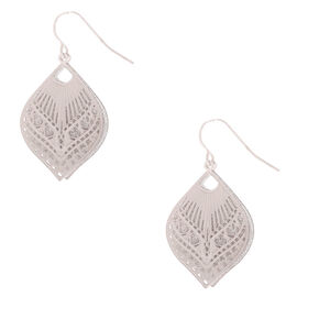 "Silver 1"" Glitter Filigree Drop Earrings,"