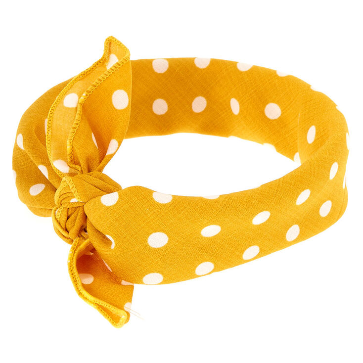 Polka Dot Knotted Bandana Headwrap - Yellow,