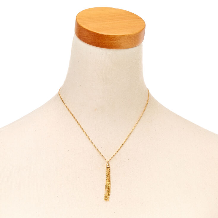 Gold Pendant Tassel Necklace,