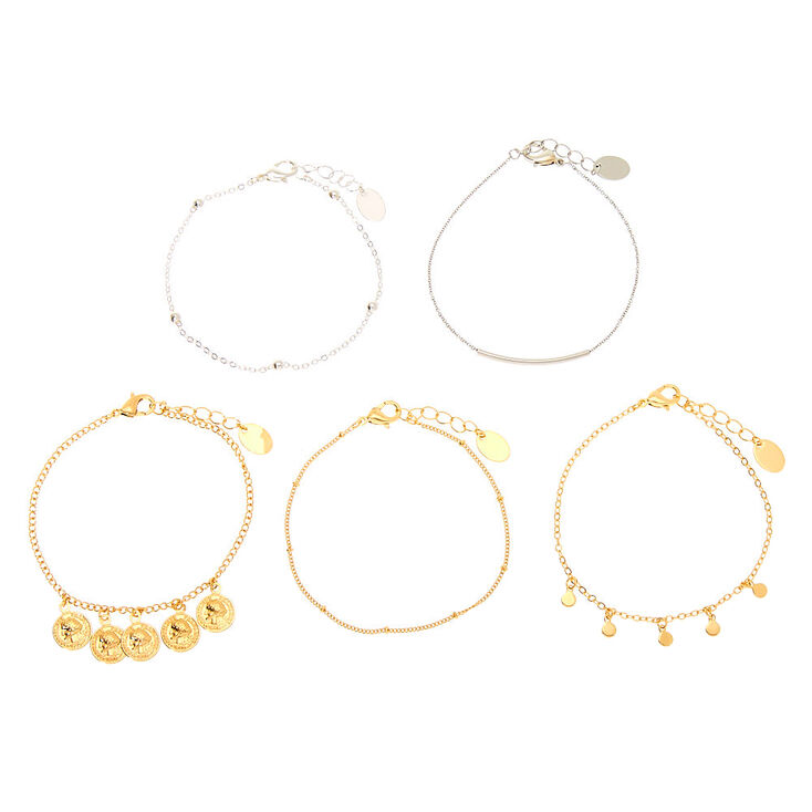Mixed Metal Coin Chain Bracelets - 5 Pack,