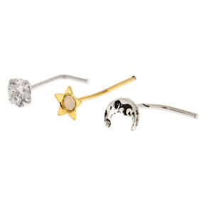 Sterling Silver Mixed Metal 22G Celestial Nose Studs - 3 Pack,