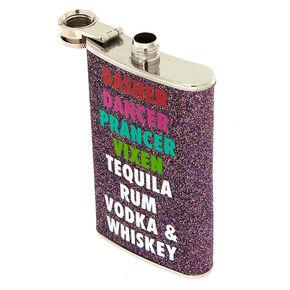 Glitter Dasher Dancer Vodka & Whiskey Flask,