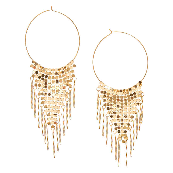 Gold Tone Triangular Mesh Hoop Earrings,