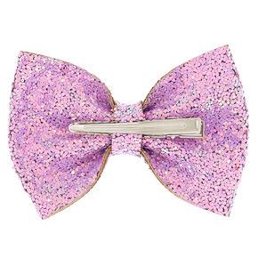 Iridescent Sequin Glitter Hair Bow Clip - Lilac,