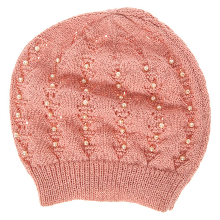 Blush Beanie with Pearls,