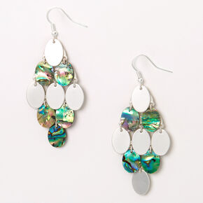 "Silver 2.5"" Abstract Seashell Oval Drop Earrings,"