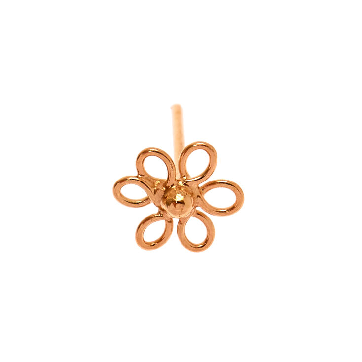 Sterling Silver Rose Gold 22G Wired Flower Nose Stud,