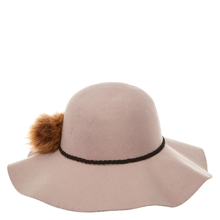Gray Floppy Hat with Pom,