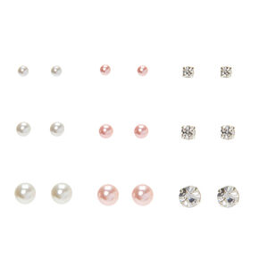 Silver Pearl Graduated Stud Earrings - 9 Pack,