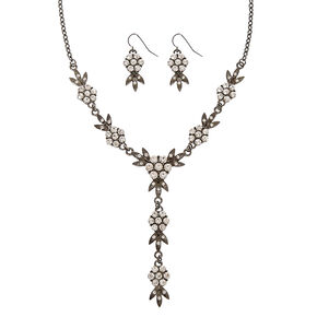 Black Floral with Faux Rhinestone Necklace & Earring Set,