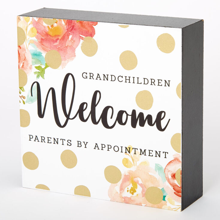Grandchildren Welcome Floral Polka Dot Word Block - White,