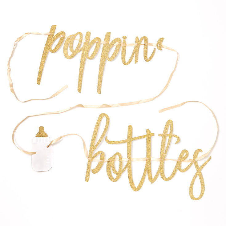 Poppin' Bottles Party Banner - Gold,