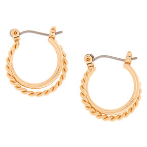 Gold 15MM Braided Double Hoop Earrings,