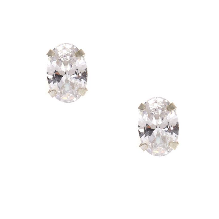 Sterling Silver Oval Cubic Zirconia Earrings,