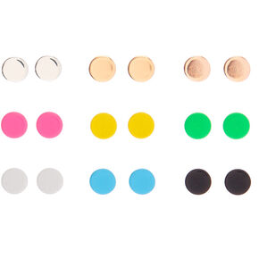 Mixed Metal Neon Button Stud Earrings - 9 Pack,