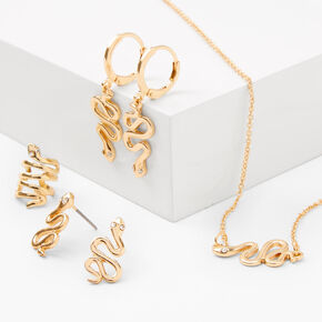 Gold Textured Snake Jewelry Set - 4 Pack,