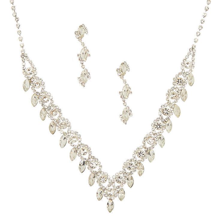 Silver Glass Rhinestone Scalloped Leaf Jewelry Set - 2 Pack,