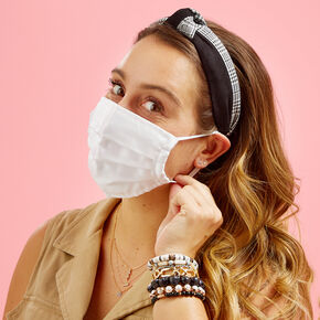 White Tulle Pleated Face Mask - Adult,