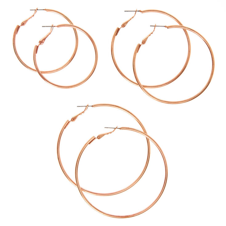 Graduated Rose Gold Hoop Earrings,