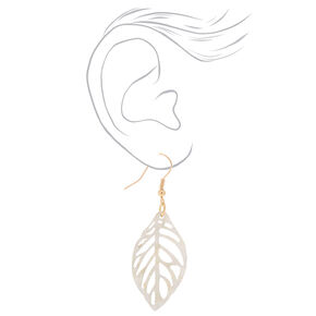 "Gold 1.5"" Ivy Leaf Drop Earrings - White,"
