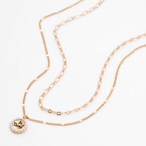 Gold Je Taime Multi Strand Pendant Necklace,