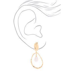 "Hammered Gold Pearl 2.5"" Teardrop Drop Earrings,"