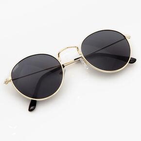 Retro Round Black Tinted Sunglasses,