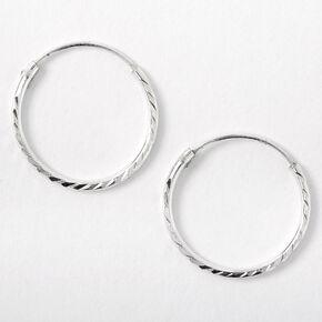 Sterling Silver 16MM Textured Hoop Earrings,