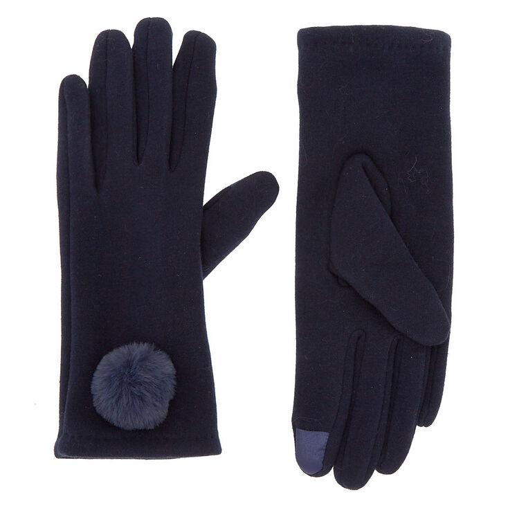 Pom Pom Knit Fashion Gloves - Navy,