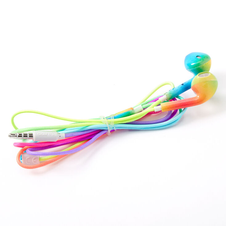 Rainbow Ombre Earbuds with Mic,