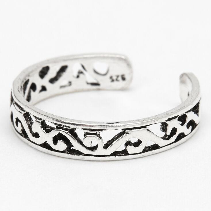 Sterling Silver Filigree Band Toe Ring,