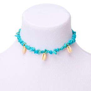 Cowrie Shell & Stone Choker Necklace - Turquoise,