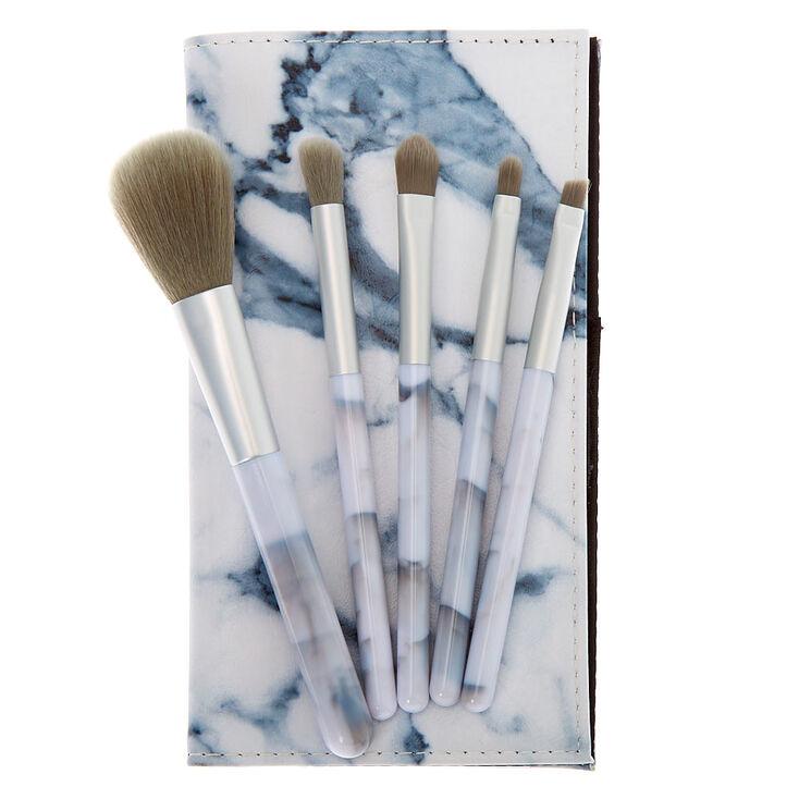 Marble Makeup Brush Set - Gray, 5 Pack,