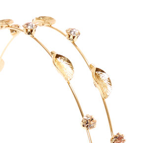 Gold Leaf & Crystal Double Row Skinny Headband,