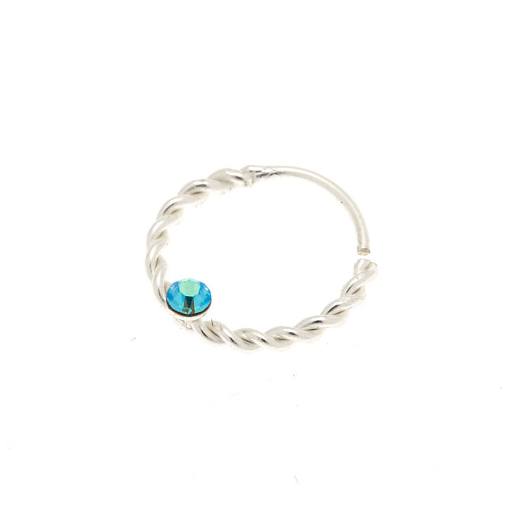 Sterling Silver 22G Braided Mermaid Nose Ring - Turquoise,