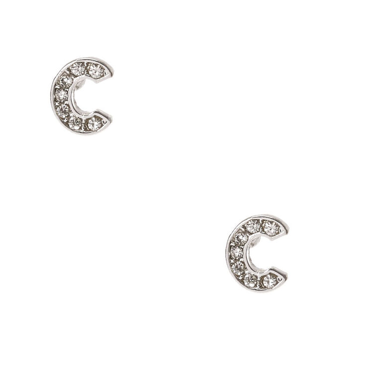 "Silver Tone Clear Crystal Initial Letter ""C""  Stud Earrings,"