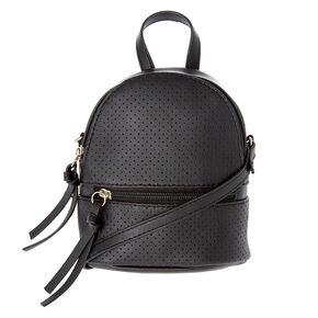 Perforated Mini Backpack Crossbody Bag - Black,