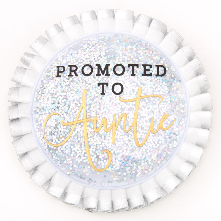 Promoted To Auntie Button - White,