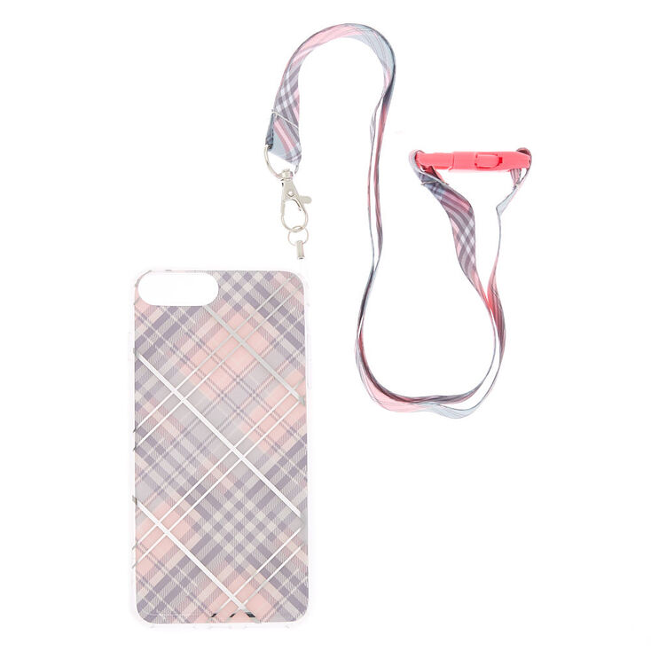 Pink Plaid Lanyard Phone Case - Fits iPhone 6/7/8 Plus,