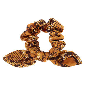 Snakeskin Knotted Bow Hair Scrunchie - Yellow,