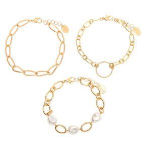 Gold Pearl Chain Bracelets - 3 Pack,