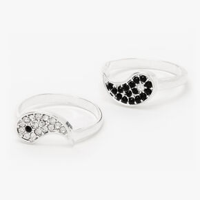Silver Yin Yang Embellished Rings - 2 Pack,
