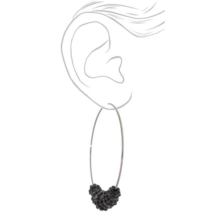 Black 70MM Beaded Hoop Earrings,