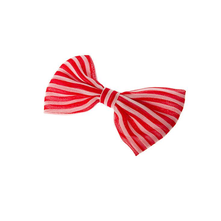 Red & White Stripe Bow Hair Clip,