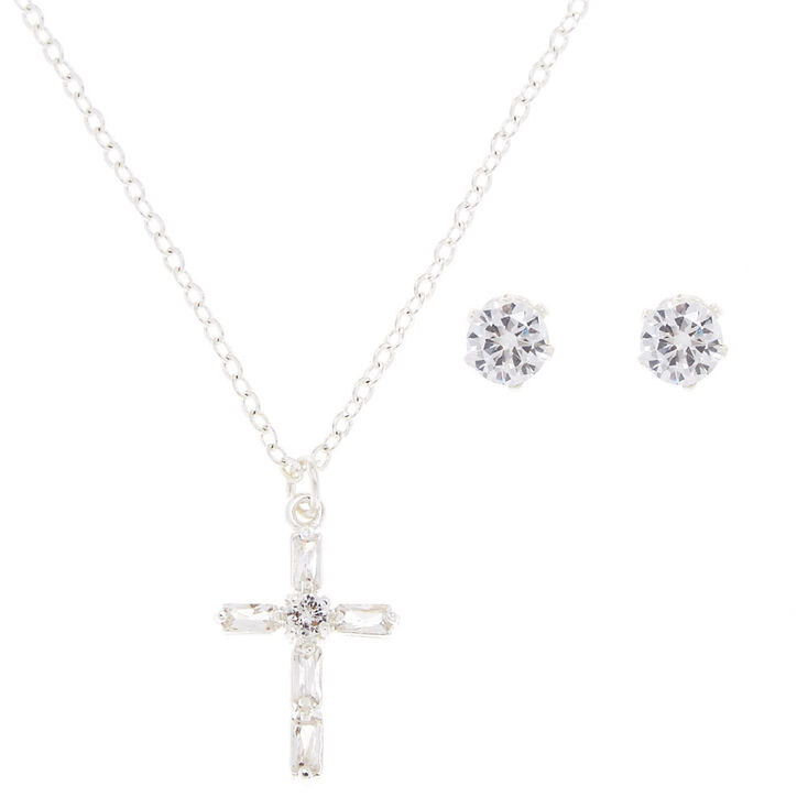 Silver Tone & Faux Crystal Cross Pendant  Jewelry Set,